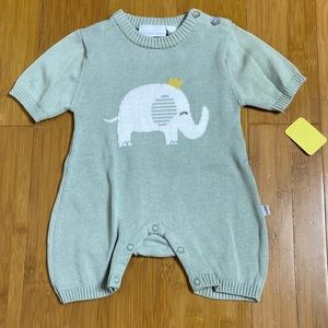 NWT Elegant Baby ELEPHANT PRINCE KNIT ROMPER 6M